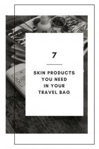 skincare products you need in your travel bag pinterest graphic